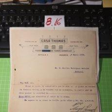 Facturas antiguas: CASA THOMAS. MADRID 1923. Lote 246160685