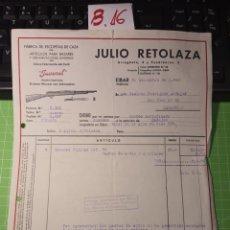 Facturas antiguas: JULIO RETOLAZA EIBAR 1940. Lote 246160870