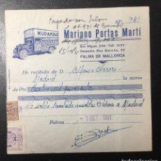 Facturas antiguas: PALMA DE MALLORCA , FACTURA RECIBO PUBLICIDAD MUDANZAS , MARIANO PORTAS , TRANSPORTE. Lote 246331390