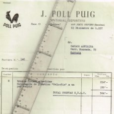 Facturas antiguas: 1957AL 63 LOTE FACTURAS, CON SELLO Y TIMBRE, Y CARTAS DEPORTES Y ESQUÍ POLL PUIG SAN JUSTO DESVERN. Lote 246874055