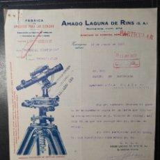Facturas antiguas: ZARAGOZA, ARAGÓN, FACTURA ANTIGUA DE 1922 , AMADO LAGUNA DE RINS, APARATOS PARA CIENCIAS.. Lote 247043455