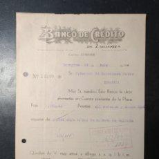 Facturas antiguas: ZARAGOZA, ARAGÓN, FACTURA ANTIGUA DE 1940 . BANCO DE CRÉDITO DE ZARAGOZA.. Lote 247045770