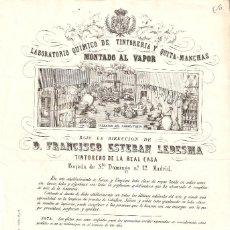 Fatture antiche: MADRID 1863 FACTURA A LA REAL CABALLERIZA. FRANCISCO ESTEBAN LEDESMA. TINTORERO DE LA REAL CASA.. Lote 247119315