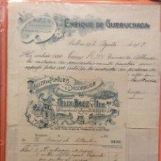 Facturas antiguas: FACTURAS - ENRIQUE DE GURRUCHAGA + TALLER DE PINTURA Y DECORACIÓN FELIX SAEZ Y HERMANO BILBAO 1907. Lote 247124705