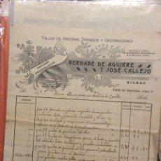 Facturas antiguas: FACTURA -BERNABÉ DE AGUIRRE Y JOSÉ CALLEJO -BILBAO 1909 -TALLER DE PINTURAS , DORADOS Y DECORACIONES. Lote 247126665
