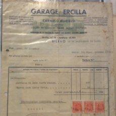 Facturas antiguas: FACTURA - GARAGE ERCILLA CARMELO MURILLO -BILBAO 1952. Lote 247985905