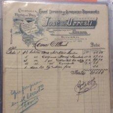 Facturas antiguas: FACTURA - JOSÉ DE URRESTI - BILBAO 1912. Lote 247988265