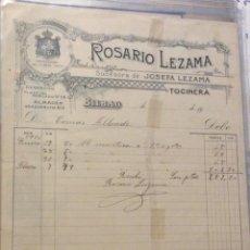Facturas antiguas: FACTURA - ROSARIO LEZAMA ( TOCINERA ) BILBAO 1900. Lote 247989040