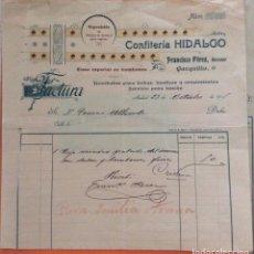 Facturas antiguas: FACTURA - CONFITERIA HIDALGO FRANCISCO PEREZ SUCESOR -MADRID 1911. Lote 247991105
