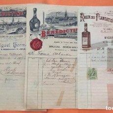 Facturas antiguas: FACTURAS - BENEDICTINE RHUM DES PLANTATIONS SAN JAMES -MIGUEL HORMACHEA BILBAO 1906. Lote 247993605