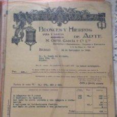 Facturas antiguas: FACTURA - BRONCES Y HIERROS DE ARTE -IPIÑA Y GARCIA -BILBAO 1928. Lote 248058365