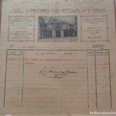 Facturas antiguas: FACTURA - PEDRO DE OTADUY TALLER DE HERRERIA BILBAO 1927. Lote 248059460