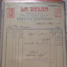 Facturas antiguas: FACTURA- LA BELGA VIUDA DE G. PUJOL - PAPELES PINTADOS BILBAO 1932. Lote 248063180