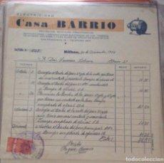 Facturas antiguas: FACTURA -ELECTRICIDAD CASA BARRIO BILBAO 1956. Lote 248207515