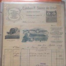 Facturas antiguas: FACTURAS (3 ) ESTEBAN F SÁENZ DE UTURI -INSTALADORA GENERAL BILBAO 1922-23-26. Lote 248207990