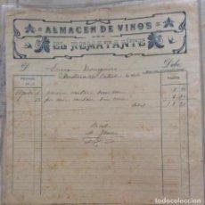 Facturas antiguas: FACTURA - ALMACEN DE VINOS EL REMATANTE -SANTURCE 1904. Lote 248208955