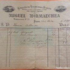 Facturas antiguas: FACTURA - ALMACEN DE VIVERES PARA BUQUES -MIGUEL HORMAECHEA BILBAO 1899. Lote 248209545