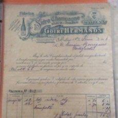 Facturas antiguas: FACTURA - FÁBRICA BERRIATUA - SIDRA CHAMPAGNE -MAITENA-GOIRI HERMANOS BILBAO 1916. Lote 248210870