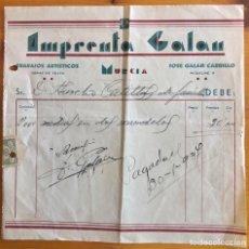 Facturas antiguas: MURCIA- FACTURA IMPRENTA GALAN- AÑO 1937. Lote 249542420