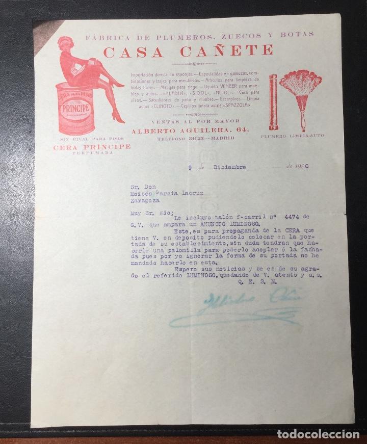 MADRID , FACTURA 1930 PUBLICIDAD CASA CAÑETE , PLUMEROS , ZUECOS Y BOTAS ., CERA PRINCIPE . (Coleccionismo - Documentos - Facturas Antiguas)