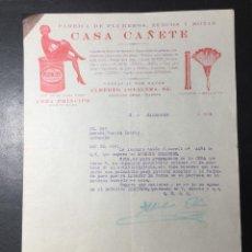 Faturas antigas: MADRID , FACTURA 1930 PUBLICIDAD CASA CAÑETE , PLUMEROS , ZUECOS Y BOTAS ., CERA PRINCIPE .. Lote 250229350