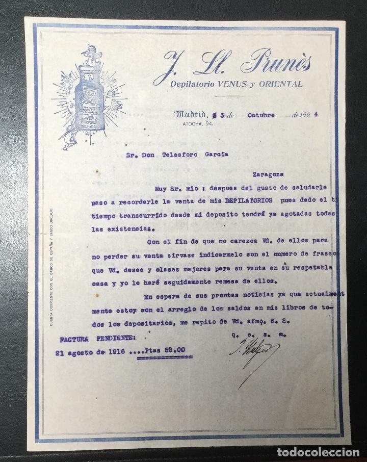 MADRID , FACTURA DE 1924 PUBLICIDAD DEPILATORIO VENUS Y ORIENTAL , PRUNES. (Coleccionismo - Documentos - Facturas Antiguas)