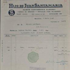 Faturas antigas: FACTURA. HIJO DE JUAN SANTAMARÍA. FÁBRICA DE BROCHAS Y ARTÍCULOS PELUQUERÍA. BARCELONA. ESPAÑA 1947. Lote 252235475