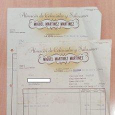 Facturas antiguas: LOTE DE 3 FACTURAS ALMACEN COLONIALES Y SALAZONES MIGUEL MARTINEZ MARTINEZ. LA RODA ALBACETE.. Lote 252756650
