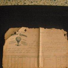 Fatture antiche: FACTURA COMERCIAL 1890 FABRICAS DEL GLOBO MORODER Y HERMANOS, DE VALENCIA. Lote 252758800