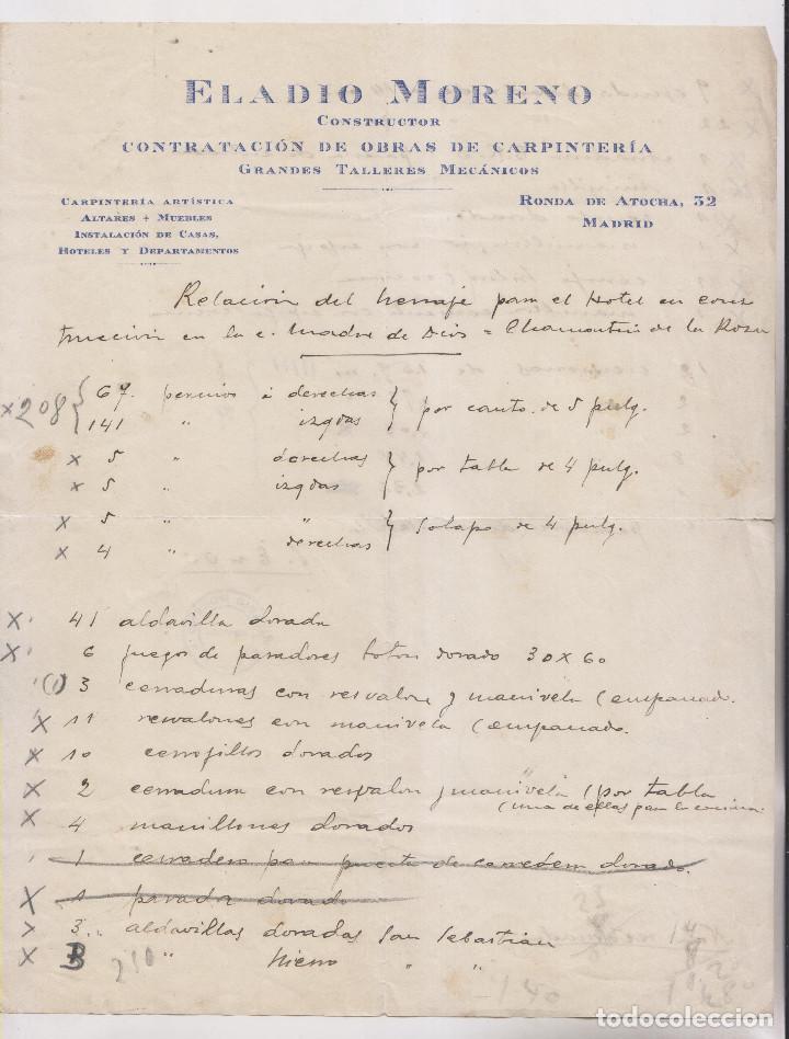 FACTURA DE ELADIO MORENO, OBRAS DE CARPINTERÍA EN UN HOTEL DE CHAMARTÍN DE LA ROSA. 1928 MADRID (Coleccionismo - Documentos - Facturas Antiguas)