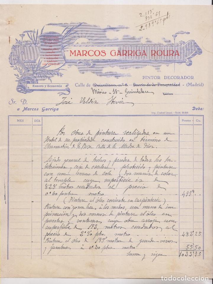 FACTURA. MARCOS GARRIGA ROURA. PINTURA EN UN HOTEL DE CHAMARTÍN DE LA ROSA. 1928 MADRID (Coleccionismo - Documentos - Facturas Antiguas)