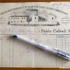 Facturas antiguas: BARCELONETA- BARCELONA- NAVEGACION- FACTURA JARCIAS PABLO CALVELL- 1885. Lote 253661025