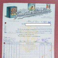 Faturas antigas: FACTURA JUAN ANTONIO PRIETO PÉREZ, MOLINA DE SEGURA, MURCIA. 1947. Lote 253806170