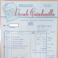 Facturas antiguas: FACTURA CONSERVAS Y BACALAOS VICENTE QUINTANILLA. LA RODA, ALBACETE 1947. Lote 253808965
