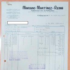 Facturas antiguas: FACTURA FÁBRICA DE ALPARGATAS MARIANO MARTINEZ REINA. CARAVACA, MURCIA 1947. Lote 253809130