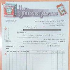 Facturas antiguas: FACTURA COSECHERO Y EXPORTADOR DE PIMENTÓN HIJO DE ANTONIO CAMPILLO. MOLINA DE SEGURA, MURCIA 1947. Lote 253809260