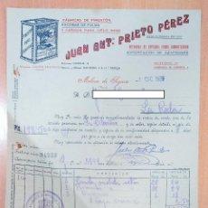 Facturas antiguas: FACTURA FÁBRICA DE PIMENTÓN JUAN ANTONIO PRIETO PÉREZ. MOLINA DE SEGURA, MURCIA 1939. Lote 253809580