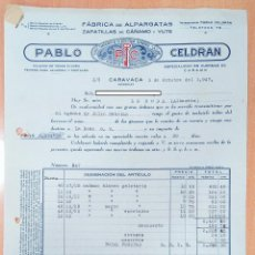 Facturas antiguas: FACTURA FÁBRICA DE ALPARGATAS PABLO CELDRÁN. CARAVACA, MURCIA 1947. Lote 253809875