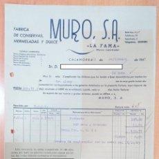 Facturas antiguas: FACTURA FÁBRICA DE CONSERVAS, MERMELADAS Y DULCE MURO. LA FAMA. CALAHORRA, 1947. Lote 253810325