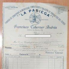 Facturas antiguas: FACTURA FÁBRICA DE CONSERVAS ALIMENTICIAS LA PASIEGA. FRANCISCO CABERNER ANDRES. VALENCIA 1947. Lote 253810570