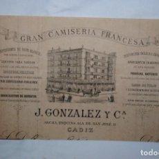 Facturas antiguas: FACTURAS, GRAN CAMISERIA FRANCESA CADIZ 1884. Lote 253909040