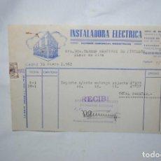 Facturas antiguas: FACTURA INSTALADORA ELECTRICA 1962. Lote 253936115