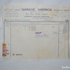 Facturas antiguas: FACTURA GARAJE AMERICA , CADIZ 1962. Lote 253936330