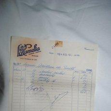 Facturas antiguas: FACTURA CAFETERIA , LA CAMELIA CADIZ 1962. Lote 253936550