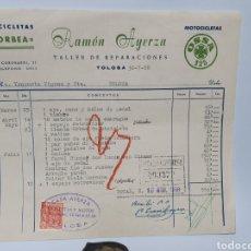 Fatture antiche: RAMON AYERZA. BICICLETAS ORBEA, MOTOCICLETAS OSSA. TOLOSA. ANTIGUA FACTURA 1958.. Lote 254009225
