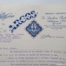 Facturas antiguas: ANDRES GOÑI. BILBAO. SOLDADURA ARCOS. ANTIGUA FACTURA 1935.. Lote 254011200