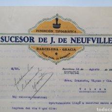 Facturas antiguas: J. DE NEUFVILLE. SUCESORES DE. FUNDICION TIPOGRÁFICA. ANTIGUA FACTURA. BARCELONA 1925.. Lote 254013165