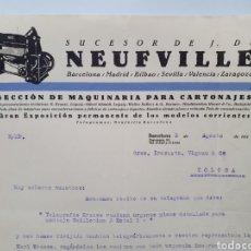 Facturas antiguas: SUCESORES DE J. DE NEUFVILLE. ANTIGUA FACTURA 1925.. Lote 254013340