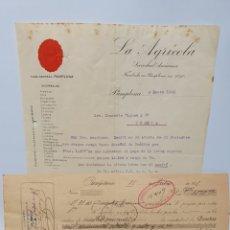Facturas antiguas: LA AGRICOLA. PAMPLONA. ANTIGUA FACTURA Y PAGARÉ 1925.. Lote 254013725