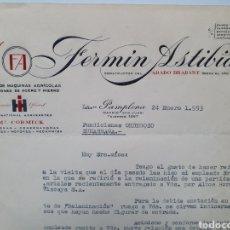 Facturas antiguas: FERMIN ASTIBIA. FABRICA MAQUINAS AGRICOLAS. PAMPLONA. ANTIGUA FACTURA 1953.. Lote 254035230
